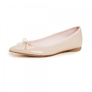 Pastel Pink Pointy Toe Flats Comfortable Ballet Shoes with Bow