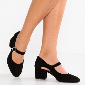 Pearl Buckle Black Mary Jane Pumps Round Toe Block Heels Office Shoes