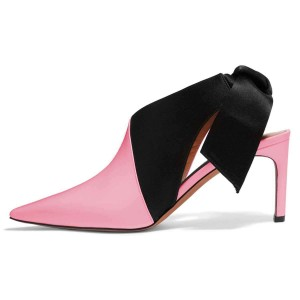 Pink and Black Kitten Heels Pointy Toe Bow Slingback Pumps