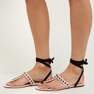Pink and Black Rhinestone Ankle Strap Flat Sandals