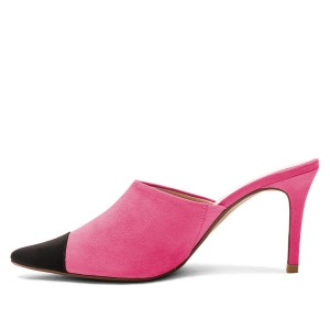 Pink and Black Two-tone Stiletto Heels Mule