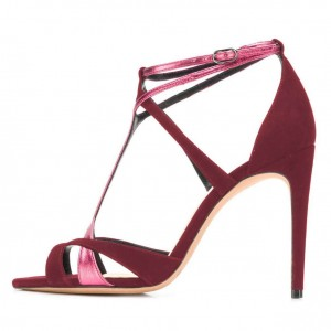 Pink and Burgundy Suede Stiletto Heel Strappy Sandals