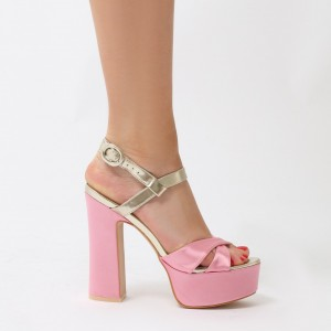 Pink and Champagne Platform Sandals Peep Toe Chunky Heel Sandals