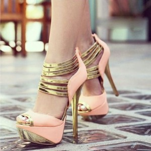 Pink and Gold Platform Sandals Peep Toe High Heel Ankle Strap Sandals