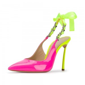 Fuchsia and Neon Yellow Patent Leather Stiletto Heel Slingback Pumps