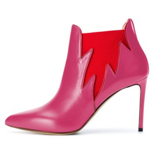 Pink and Red Chelsea Boots Stiletto Heel Fashion Ankle Boots