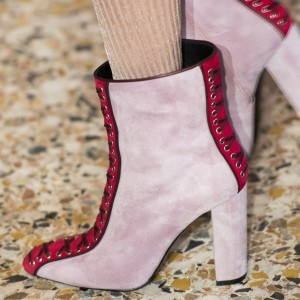 Pink and Red Suede Chunky Heel Boots Round Toe Lace up Ankle Booties