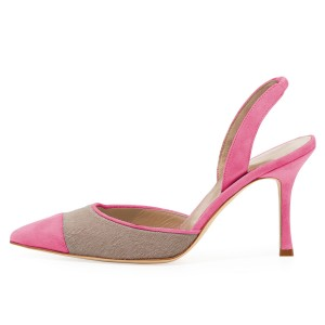 Pink and Taupe Pointy Toe Spool Heel Slingback Pumps