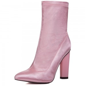 Pink Ankle Boot chunky Heel Boots
