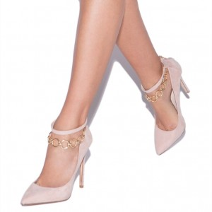 Nude Ankle Strap Heels Pointy Toe Stiletto Heel Suede Pumps with Chain