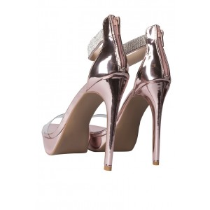 Pink Ankle Strap Sandals Stiletto Heels Rhinestone Platform Sandals