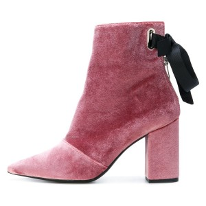 Pink Velvet Boots Pointy Toe Back Tie Chunky Heel Ankle Boots