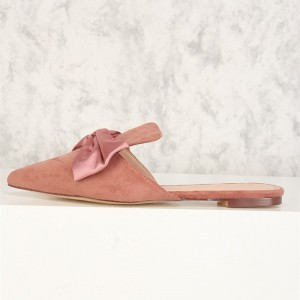 Pink Bow Flat Mule Loafers for Women