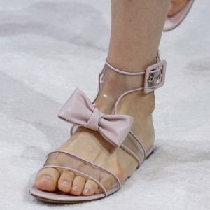 Clear Open Toe Flat Bow Sandals in Pink