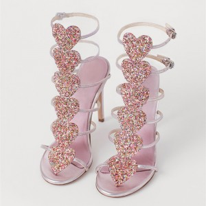 Pink Buckle Gladiator Heels Sandals with Colorful Rhinestones