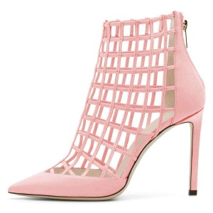 Pink Caged Stiletto Heels Ankle Boots Summer Boots