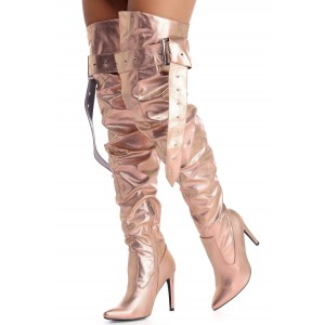 Champagne Wide Calf Thigh High Boots Stiletto Heel Slouch Boots