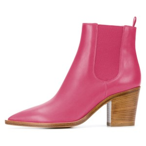 Pink Block Heel Boots Pointy Toe Chelsea Boots