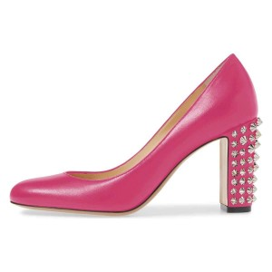 Pink Chunky Heels Pumps with Studs