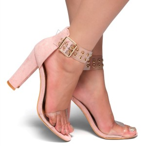 Pink Clear Heels Open Toe Chunky Heel Sandals for Women