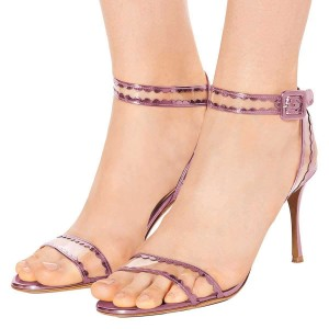 Pink Clear PVC Ankle Strap Heels Sandals