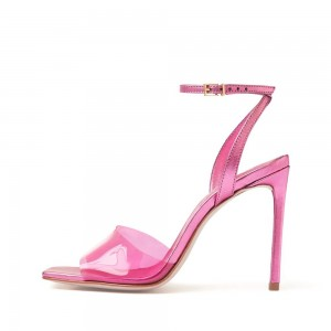 Pink Clear PVC Stiletto Heel Ankle Strap Sandals