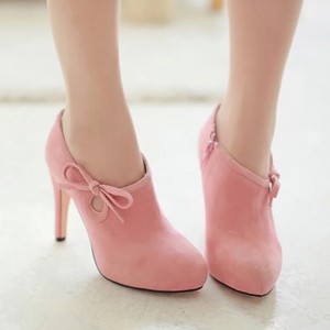 Lovely Pink Heeled Boots Suede Cute Platform Ankle Booties wth Bow