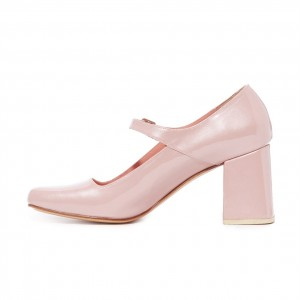 Pink Cute Mary Jane Shoes Square Toe Block Heels Pumps