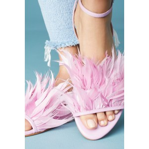 Pink Feather Ankle Strap Slingback Comfortable Flats Sandals