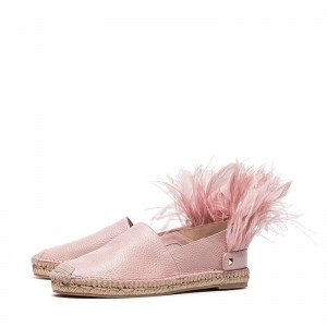 Pink Feather Comfortable Flats