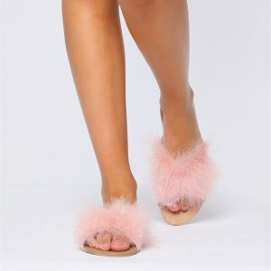 Pink Furry Women's Slide Sandals Open Toe Flats US Size 3-15