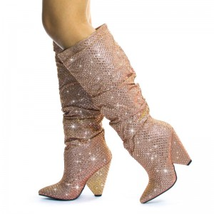 Pink Glitter Boots Pointy Toe Chunky Heel Knee High Boots