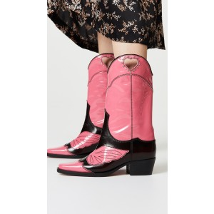 Pink Heart Western Boots Chunky Heel Mid Calf Boots with Rhinestone