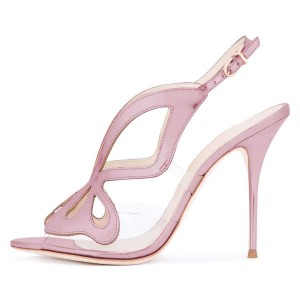 Pink Hollow Out Clear PVC Slingback Heels Sandals