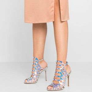 Pink Hologram Caged Slingback Heels Sandals