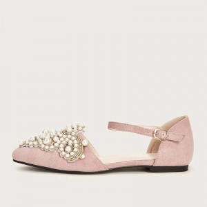 Pink Jeweled Suede Shoes Ankle Strap Pointed Toe Flats