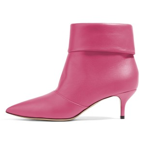 Pink Kitten Heel Boots Pointy Toe Fashion Ankle Boots