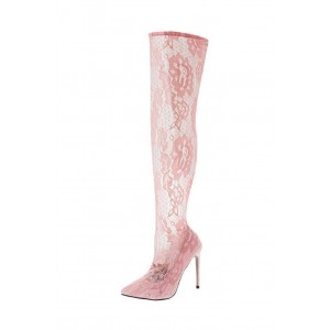 Pink Lace Thigh High Heel Boots