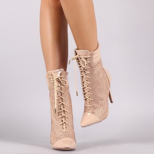 Pink Lace up Boots Pointy Toe Stiletto Heel Rhinestone Ankle Booties