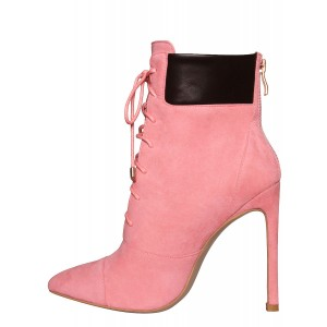 Pink Lace up Boots Suede Stiletto Heel Ankle Booties