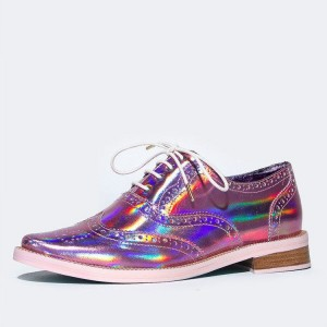 Pink Lace up Flats Women's Oxfords Holographic Vintage Shoes