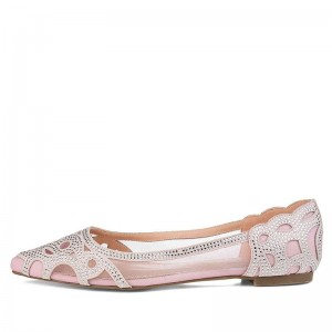 Pink Mesh Studs Comfortable Flats Hollow Out Pointed Toe Flats