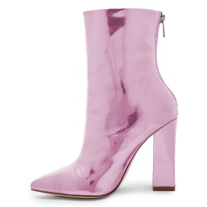 Pink Mirror Leather Chunky Heel Boots Ankle Boots
