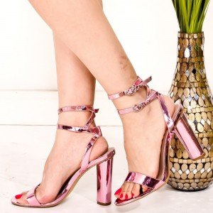 Pink Mirror Leather Double Ankle Straps Chunky Heel Sandals