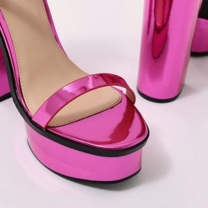 Orchid Mirror Leather Platform Sandals Cross Over Chunky Heel Sandals