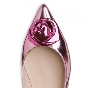 Pink Mirror Leather Pointed Toe Comfortable Flats with Flower
