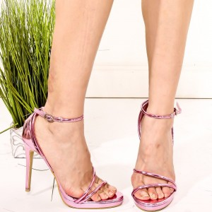 Pink Mirror Leather Platform Stiletto Heel Ankle Strap Sandals
