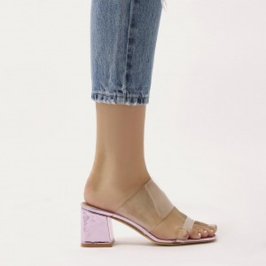 Pink Open Toe Block Heels Clear Mule Sandals