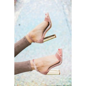 Pink Open Toe Chunky Heels Ankle Strap Sandals