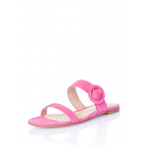 Pink Open Toe Mule Comfortable Flats Buckle Summer Sandals
